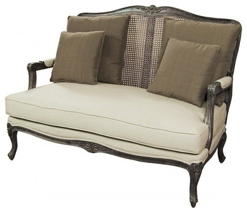 Antique Style Woven Wicker Back 2 Seater Sofa Traditional Patio Furniture  And