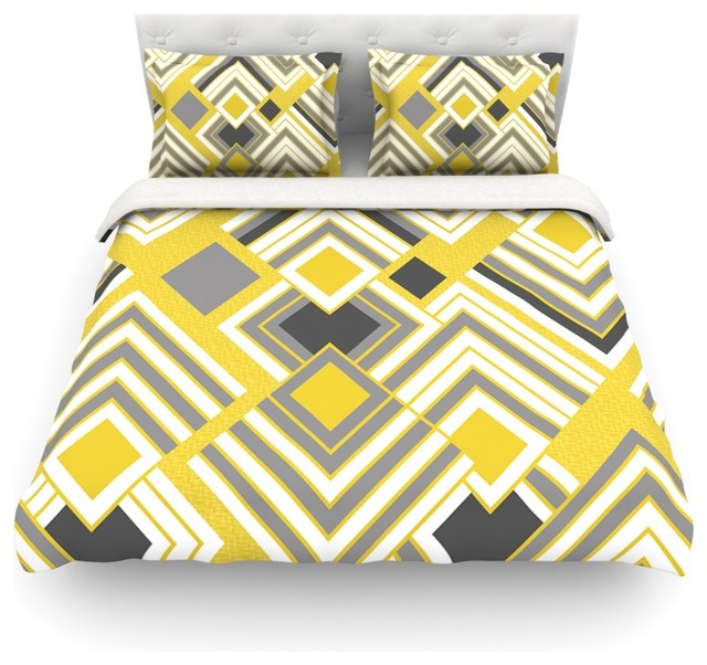 Jacqueline Milton  Luca - Gold  Cotton Duvet Cover, Yellow, Gray ... : yellow quilt cover - Adamdwight.com