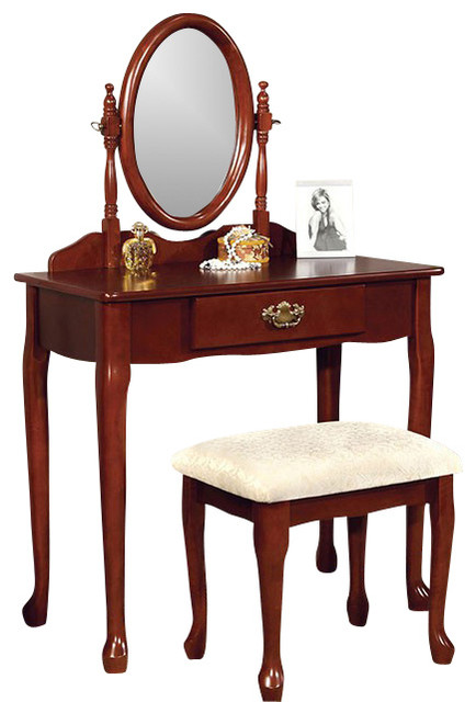Mirrored Vanity Table And Stool: Vanity Make-Up Table Solid Wood Padded Stool Oval Mirror 3