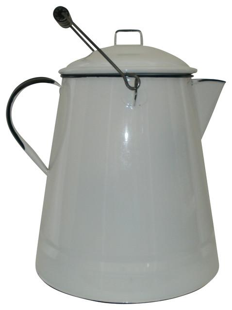 Consigned Large White Enamel Cowboy Coffee Pot
