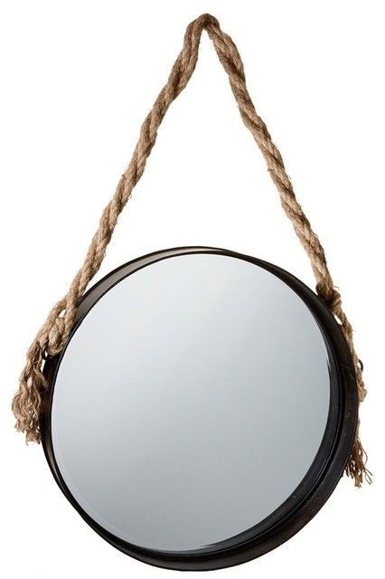 Wall Mirror With Twisted Rope Hanger.