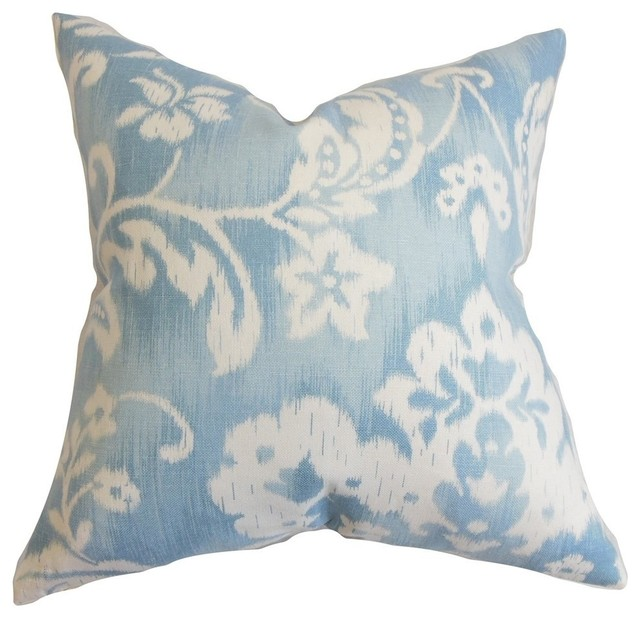 "Emese Floral Pillow, Sky Blue, 20""x20"""