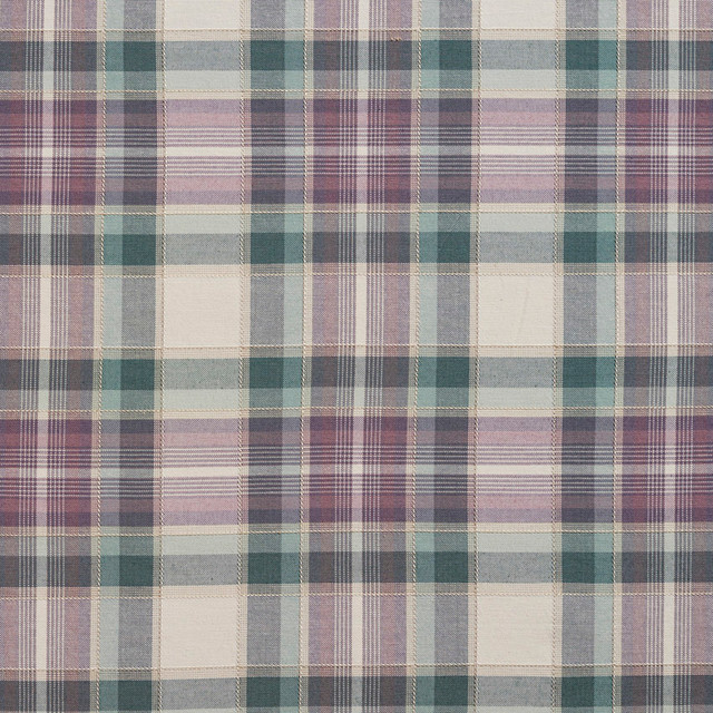 Green Purple And Off White Country Plaid Upholstery Fabric By The