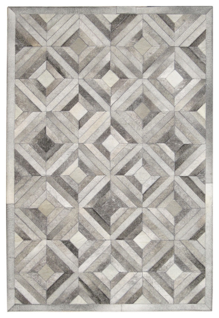 4u0027x6u0027 Madisons Grey Parquet Pattern Patchwork Cowhide Rug Contemporary Area  Rugs