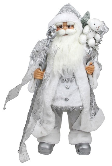 Winter Frost Standing White And Silver Santa Claus Figure