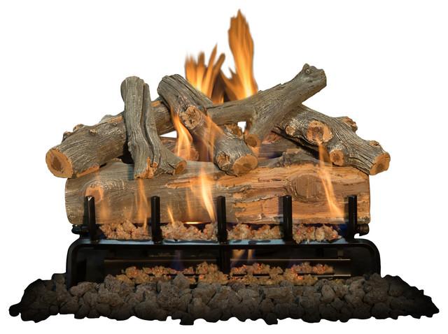"24"" Arizona Juniper Logs, 3-Burner, Natural Gas Millivolt Kit."