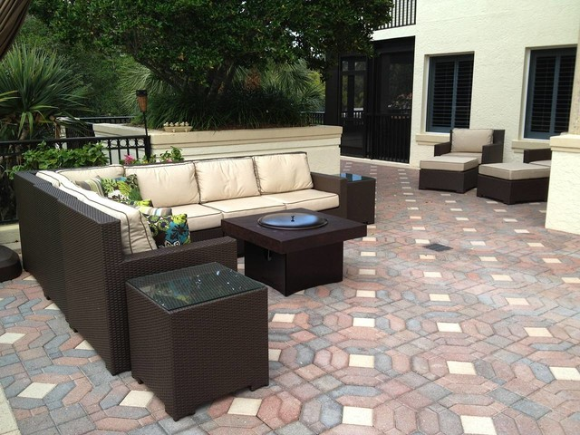 Patio Furniture Set With Gas Fire Pit Tabletraditional Orlando