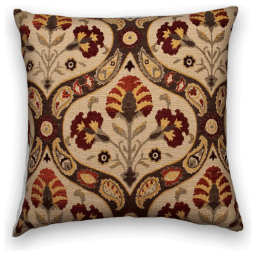 Brown Chenille Throw Pillows : Cody and Cooper Designs - Red Brown Chenille Floral Decorative Throw Pillow - View in Your Room ...