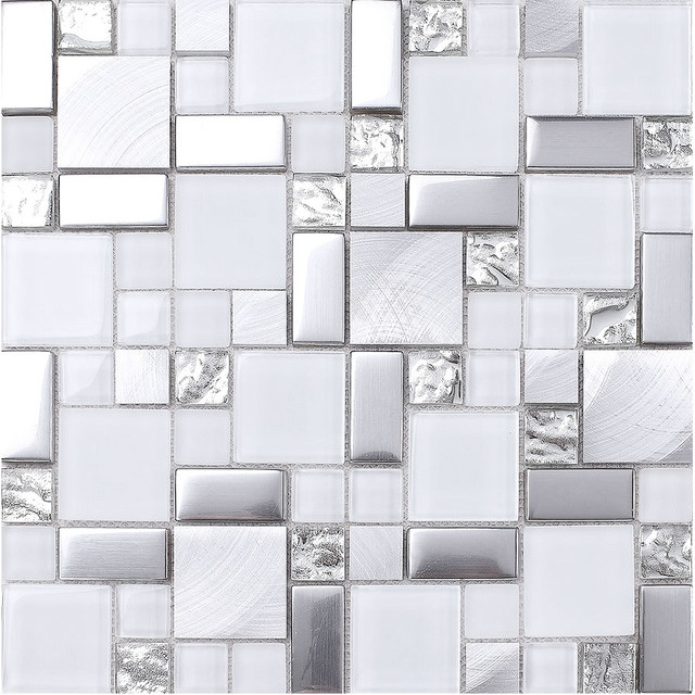 White Gray Metal Glass Mosaic Kitchen Backsplash Tile