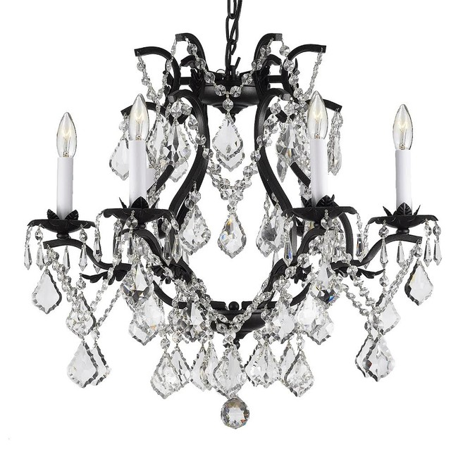 Wrought Iron Crystal Chandelier Swag Plug In