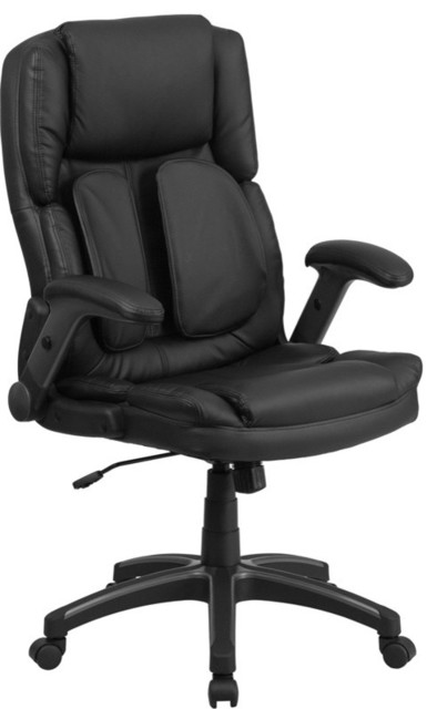 Flash Furniture High Back Leather Swivel Office Chair, Black ...