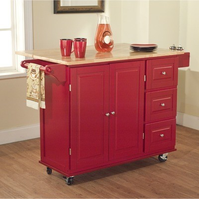 Kitchen Island With Drawers Tms Kitchen Cart With Three Drawers Red  Traditional Kitchen Islands And ...