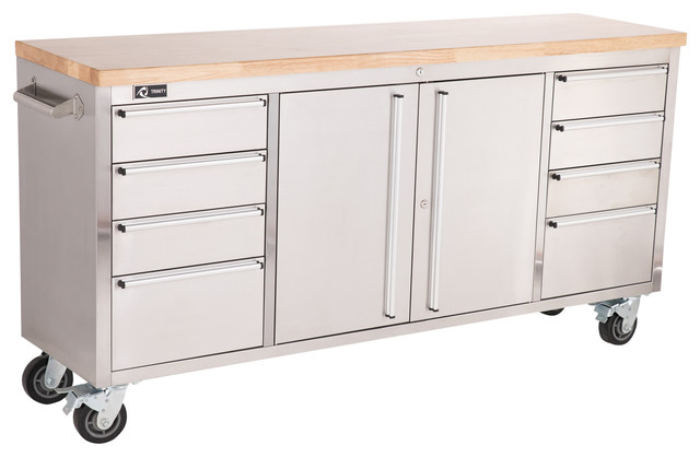 "Trinity Stainless Steel 72"" Rolling Workbench - Contemporary - Garage And Tool Storage - by TRINITY"