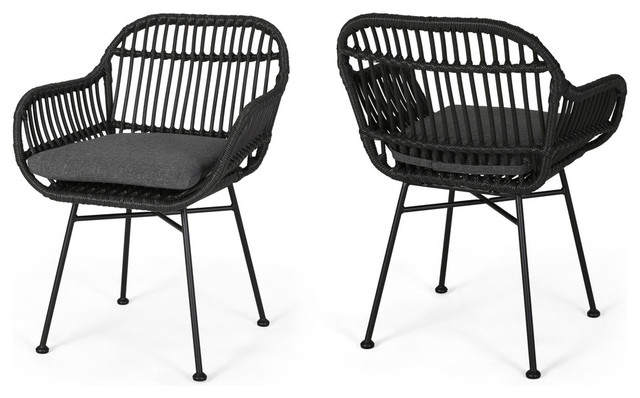 Rodney Indoor Woven Faux Rattan Chairs With Cushions, Set of 2, Gray, Dark  Gray
