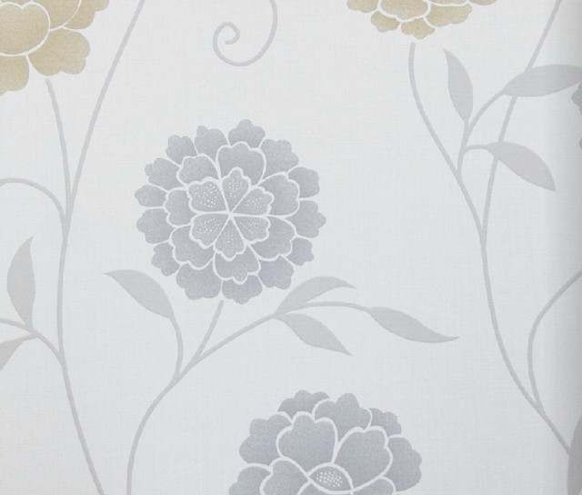 Modern Floral Print Wallpaper Gray