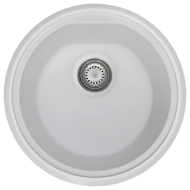 17 Undermount Round Granite Composite Kitchen Prep Sink White