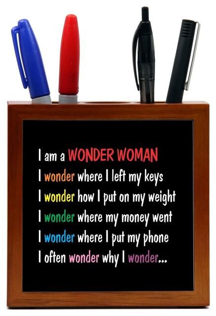 Wonder Woman Wood Tile Pen Holder Contemporary Desk Accessories