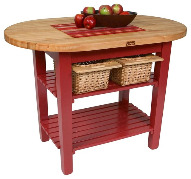 John Boos Elliptical C Table With 2 Shelves And Barn Red Base 48