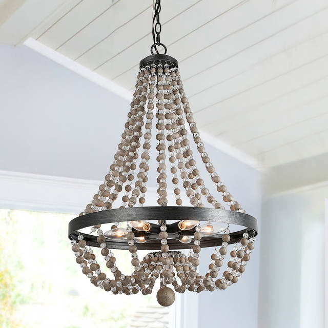 6 Light Wood Beaded Chandelier Candle