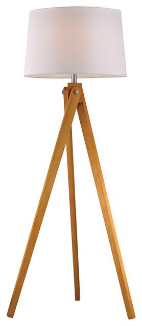Wooden Tripod 1-Light Floor Lamp, Natural Wood Tone.