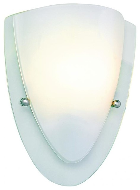 One Light Polished Chrome Clear Wall Plate Frosted Cover Glass Wall Light - Transitional - Wall ...