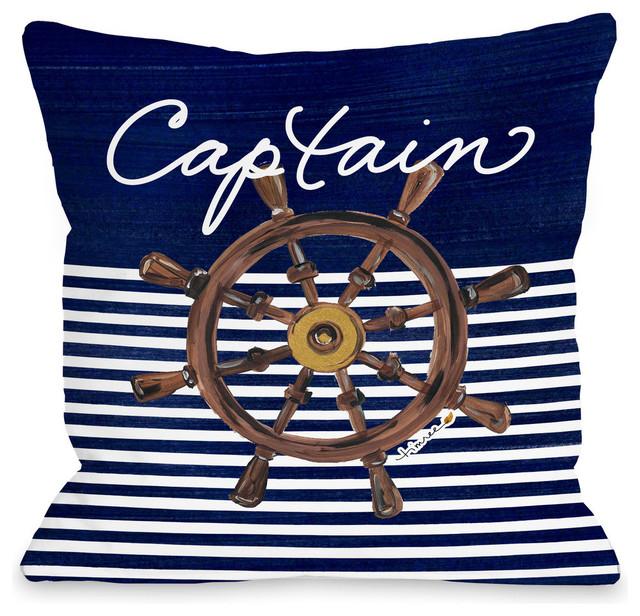 """Captain Wheel Pillow, Navy, 16""""x16""""."""