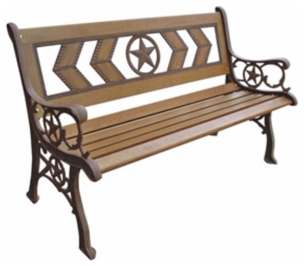 2 Seat Outdoor Metal And Wood Garden Park Bench Traditional Outdoor Benches By Yourgardenstop