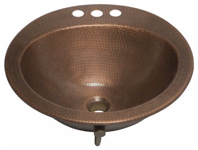 Houzz SINKOLOGY Bell 19 Drop In Copper Bath Sink Bathroom Sinks