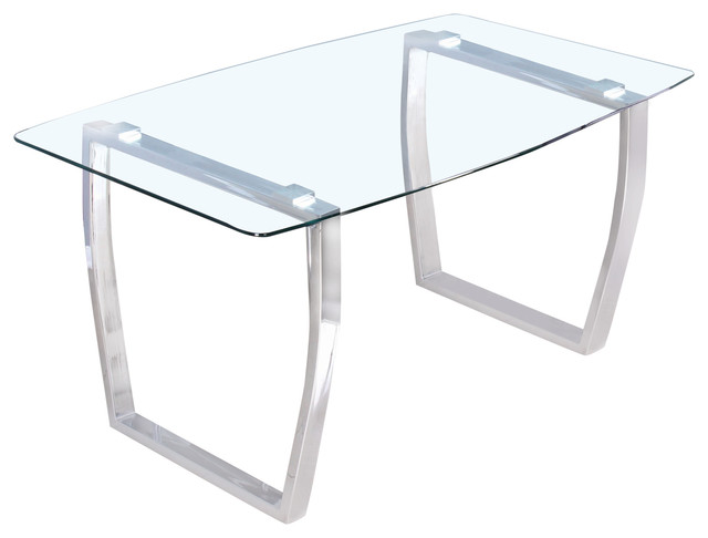 Estella Glass Dining Collection Table, Stainless Steel Contemporary Dining  Tables Part 53
