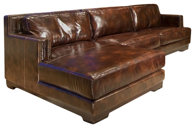 Silver Coast pany Dark Brown Leather Sectional Sofa With