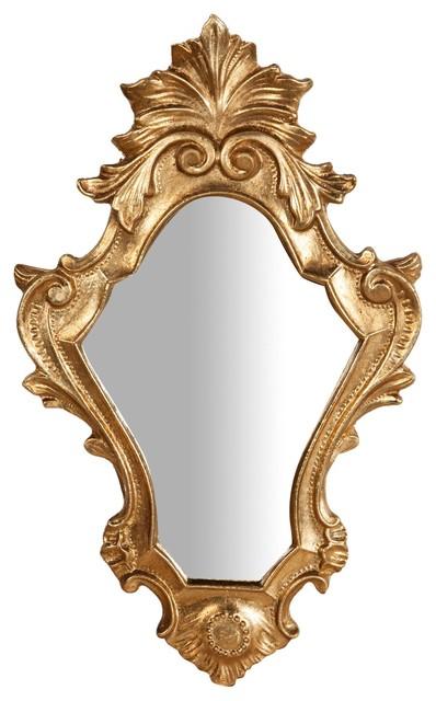 Antique Fleur-de-Lys Wall Mirror, Gold, 25x40 cm