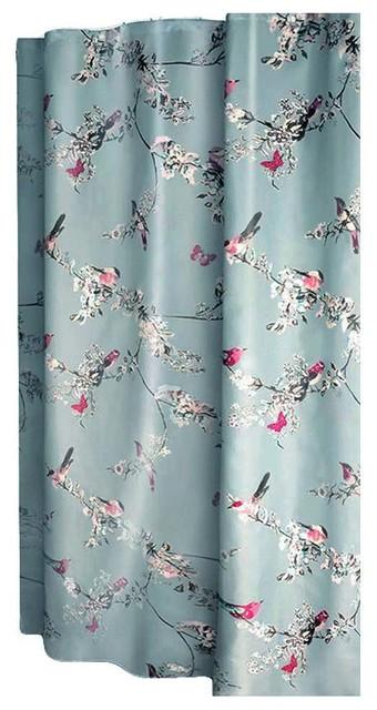 Flower And Bird Shower Curtain Waterproof Bathroom 180x180Cm