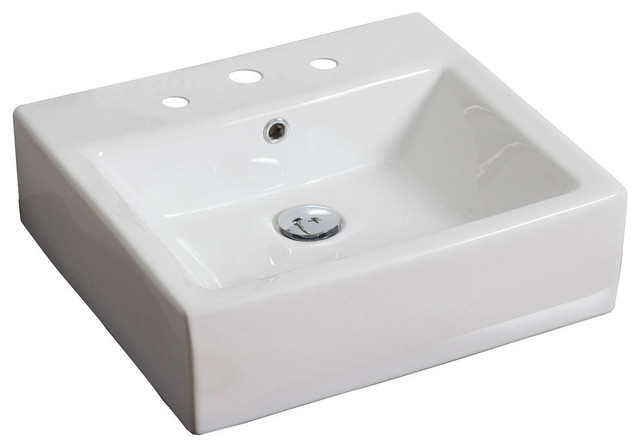Above Counter Rectangle Vessel, White For 4 O.c. Faucet, 20x18.