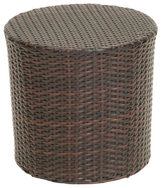 Gdf Studio Overton Outdoor Wicker Barrel Side Table Tropical