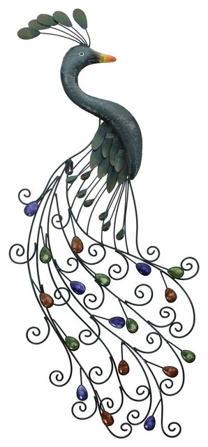 Metal Peacock Wall Art With Colorful Jewelled Tail.