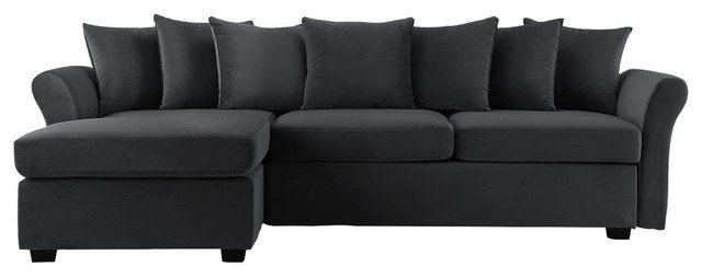 Modern Velvet Sectional Sofa Large L Shape Couch With