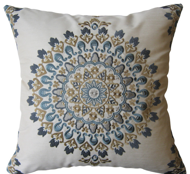 Blue And Tan Exquisite Embroidered Medallion Pillow