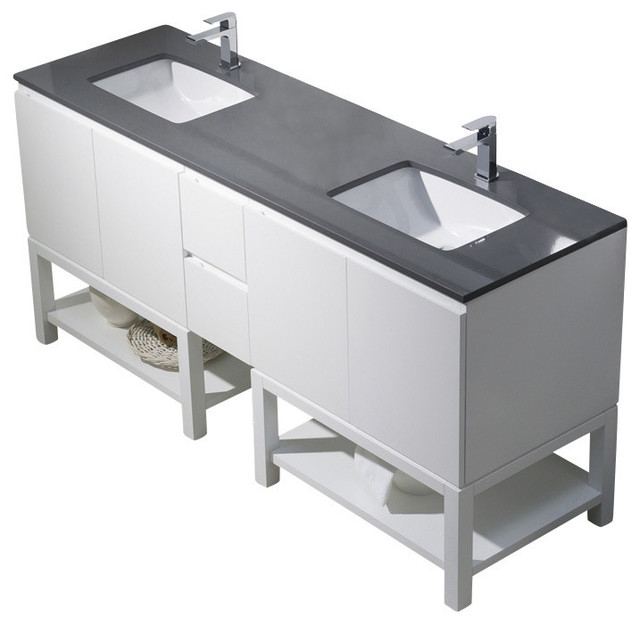 Emmet 72 Double Vanity, Espresso, White Sink, White Quartz Countertop  Bathroom Vanities