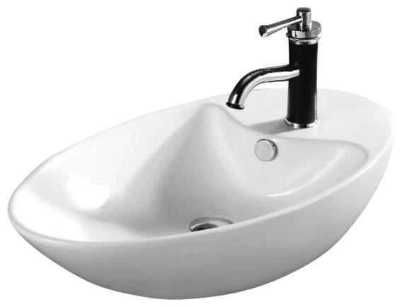 Oval White Ceramic Vessel Bathroom Sink - Contemporary - Bathroom ...