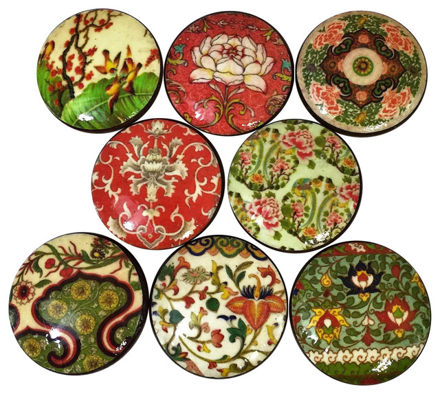 8 Piece Set Oriental Floral Pattern Cabinet Knobs