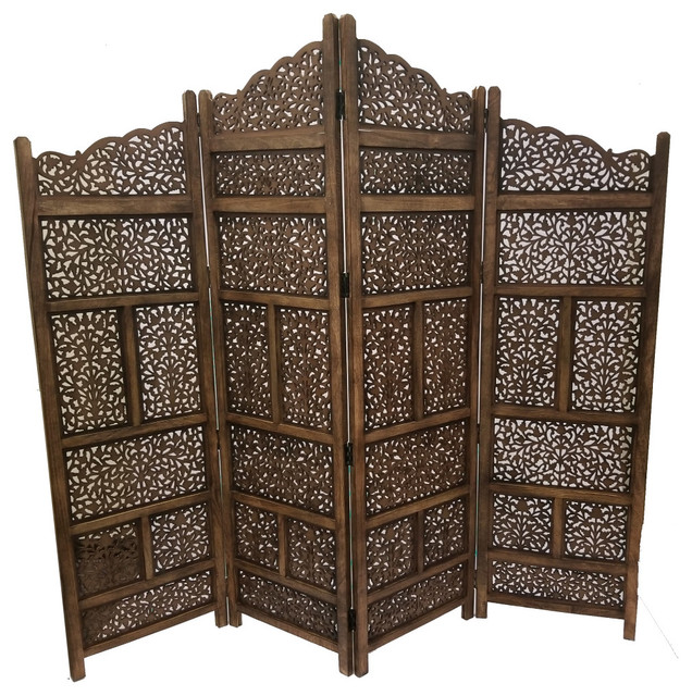 Benzara Hand Carved Foldable 4 Panel Wooden Partition Screen