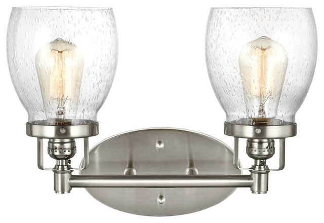 Belton 2-Light Bathroom Vanity Lights, Brushed Nickel.