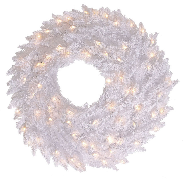 "Wreath With Dura-Lit Lights, Wreath: White, Lights: Warm White Led, 30""."