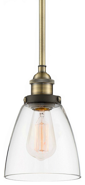 Industrial Pendant Light Glass Shade, Antique Brass, Brushed Black Finis.