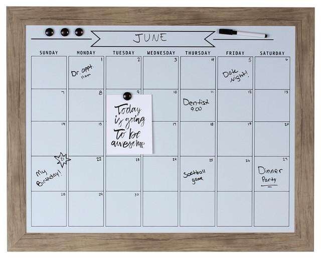 Beatrice Rustic Brown Framed Magnetic Dry Erase Calendar