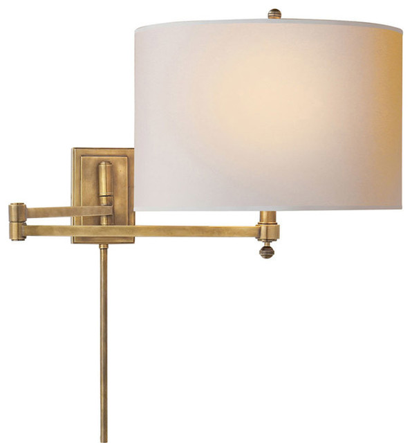 Wall Lamps Swing Arm : Thomas OBrien Hudson 1-Light Swing Arm Light/Wall Lamp, Antique Nickel - Transitional - Swing ...