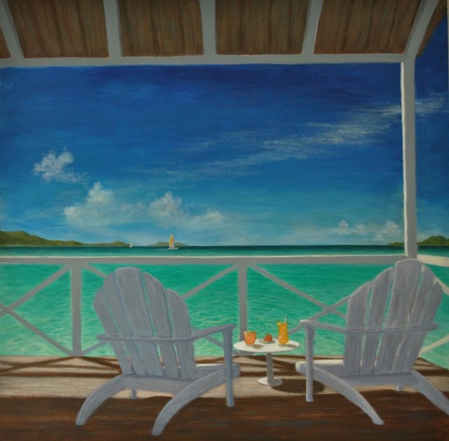 Large Original Tropical Caribbean Seascape Beach Painting.