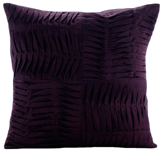 "Purple Textured Pintucks 20""x20"" Cotton Linen Pillow Covers, Purple Pleats"