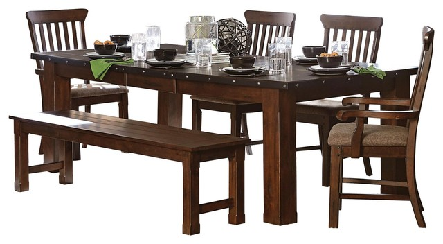 Groovy 6 Piece Sobrada Industrial Dining Table 2 Arm 2 Side Chair Bench Brown Gmtry Best Dining Table And Chair Ideas Images Gmtryco