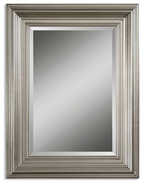 Beveled Wall Mirror tuscan beveled vanity foyer wall mirror solid wood frame silver
